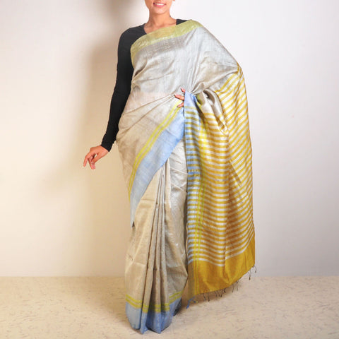 Blue Tussar Saree With Striped Palla by VYUTI