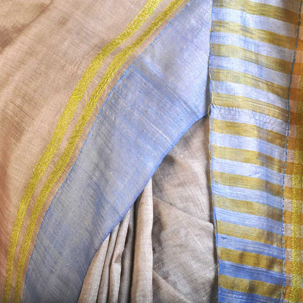 Blue Tussar Saree With Striped Palla