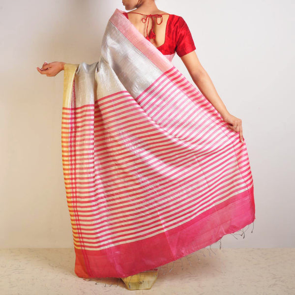 Pink Tussar Saree With Striped Palla