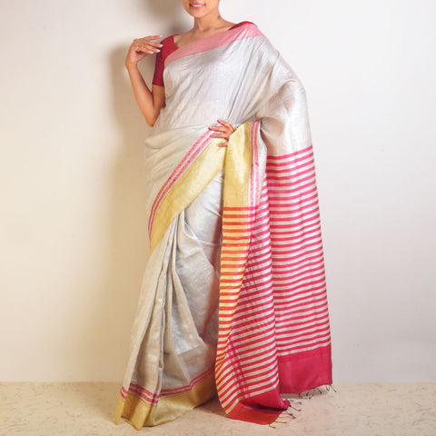 Pink Tussar Saree With Striped Palla by VYUTI