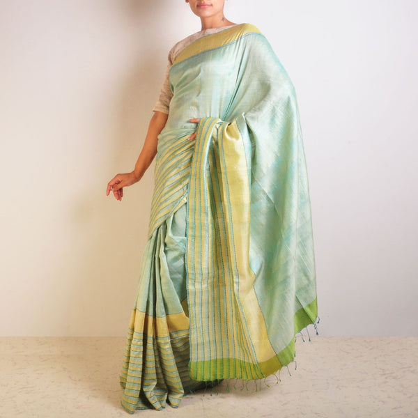 Blue Speckled Tussar Saree by VYUTI
