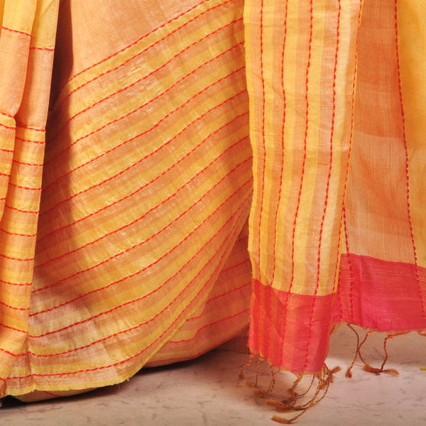 Yellow Speckled Tussar Saree