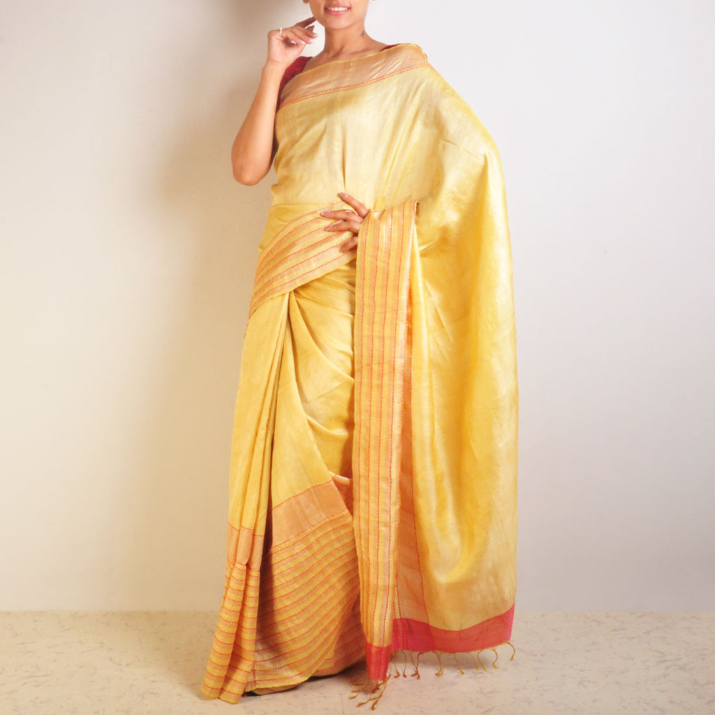 Yellow Speckled Tussar Saree by VYUTI