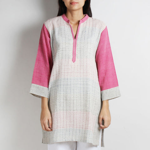 White Khadi Cotton Tunic With Pink Sleeves by WEAVERS STUDIO