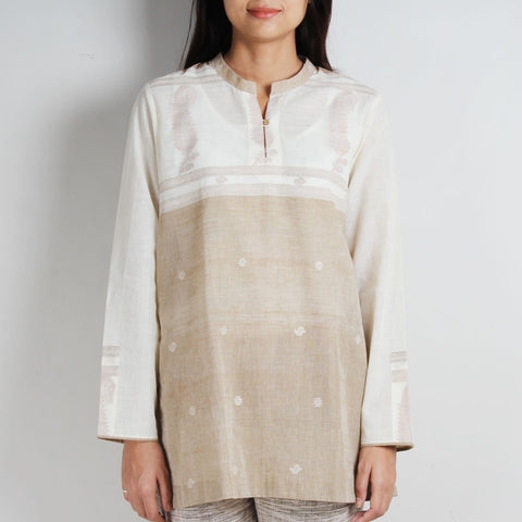 Brown Khadi Jamdani Tunic with Floral and Paisley motifs by WEAVERS STUDIO