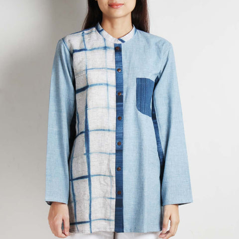 Blue Khadi Tunic With Clamp Front Panel by WEAVERS STUDIO