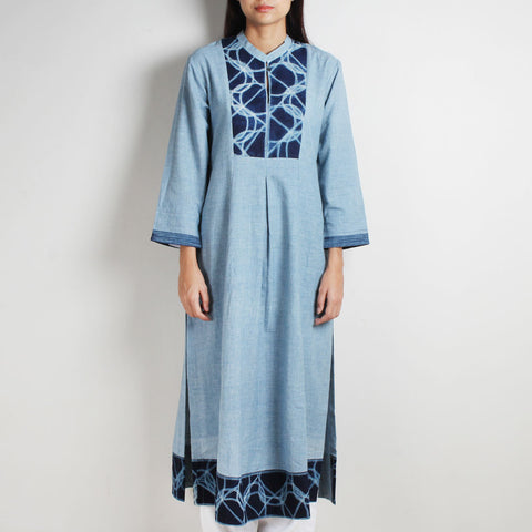 Blue Khadi Long Kurta With Shibori by WEAVERS STUDIO