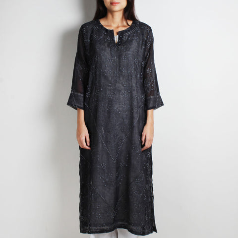 Black Layered Chikan Cotton Kurta With Grey Pinstriped Inner by WEAVERS STUDIO
