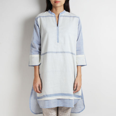 White Handwoven Khadi Tunic With Blue Lining by WEAVERS STUDIO