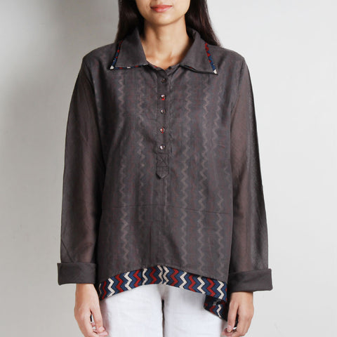 Brown Layered Collar Cotton Shirt With Mud Printed Inner by WEAVERS STUDIO