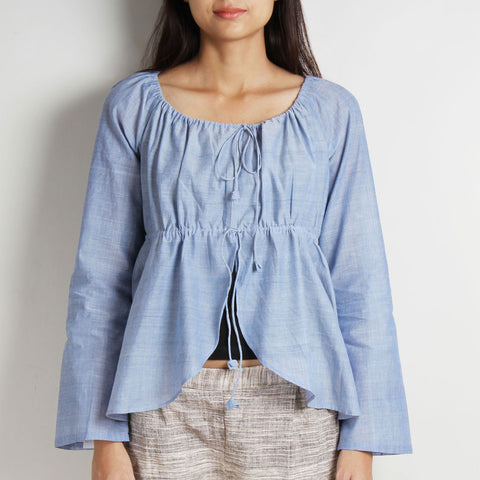 Blue Khadi Peasant Styled Short Drawstring Top by WEAVERS STUDIO
