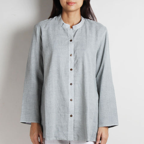 Gray Khadi Shirt With Blue Pin Striped Lining by WEAVERS STUDIO