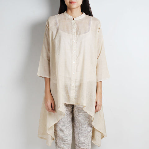 Beige Cotton Silk Shirt with handkerchief Hemline by WEAVERS STUDIO