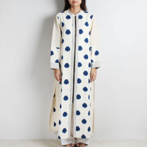 White Long Khadi Ikat Kurta by WEAVERS STUDIO