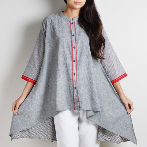 Gray Handwoven Khadi Tunic With Accent Finish by WEAVERS STUDIO
