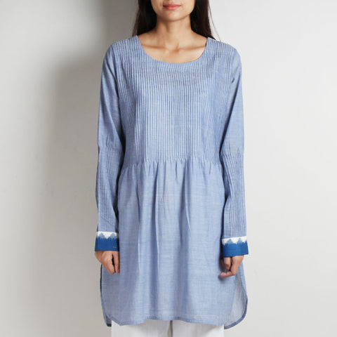Blue Pintuck Khadi Tunic by WEAVERS STUDIO
