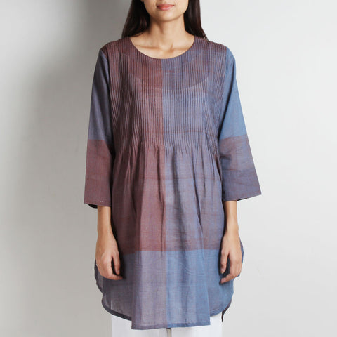 Multi-color Khadi Pintuck Shaded Tunic by WEAVERS STUDIO