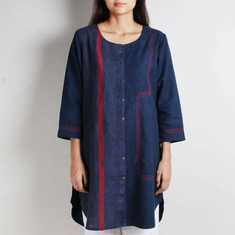 Blue Khadi Tunic with Red Highlights by WEAVERS STUDIO