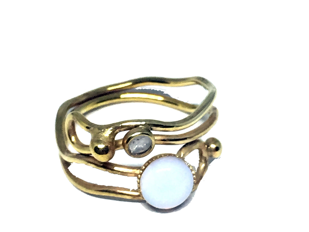 Regulerbar ring med opalite