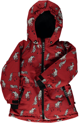 Smafolk - Winterjacket Red Unicorn - Rood Eenhoorn