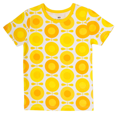 Katvig - T-Shirt Big Apples Yellow - T-shirt Appels Zonnebloemen Geel