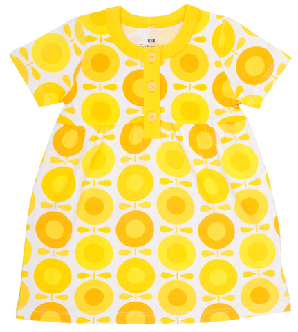 Katvig - Summer Dress Shortsleeve Big Apples Yellow - Zomerjurk korte mouw Appels Zonnebloemen Geel