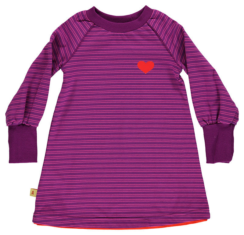 AlbaBabY Bebbie School Dress - Purple Stripes