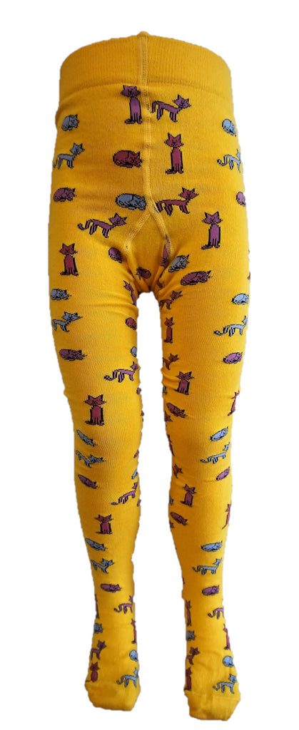 Slugs and Snails - Tights Cats - Maillot Geel met Roze Katten