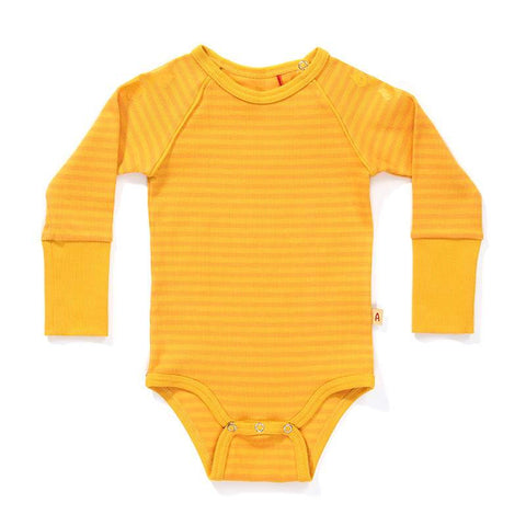 Albababy - Body Dot Yellow Rib - Gele Romper Streep
