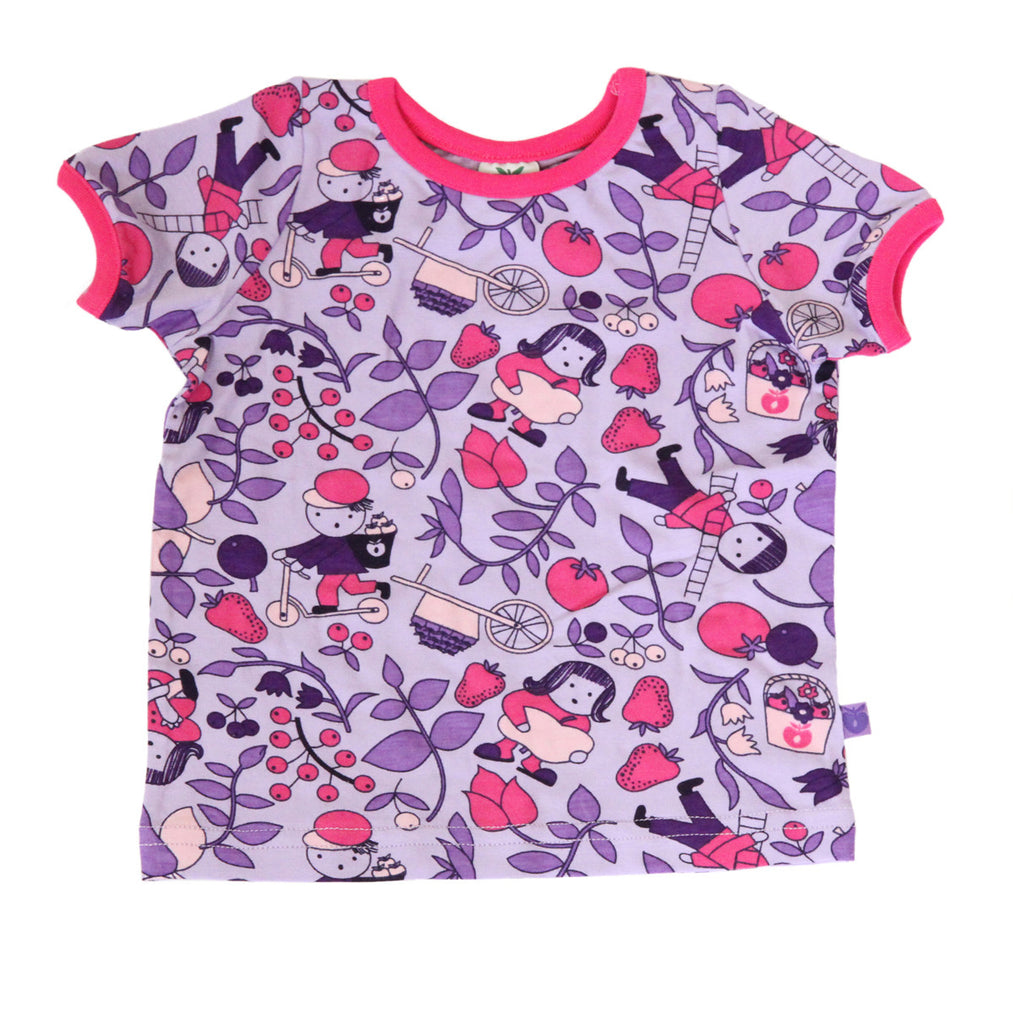 Smafolk T-Shirt BABY Children in the garden purple