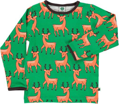 Smafolk - Longsleeve Green Orange Deer - Hertjes