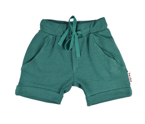 Baba Babywear Shorts Double Knitted Dots Green - Groene Korte Broek
