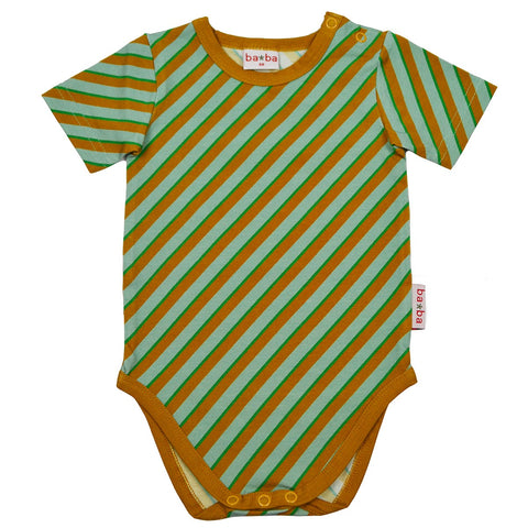 Baba Babywear - Short Sleeve Body Diagonal Blue - Diagonale Streepjes