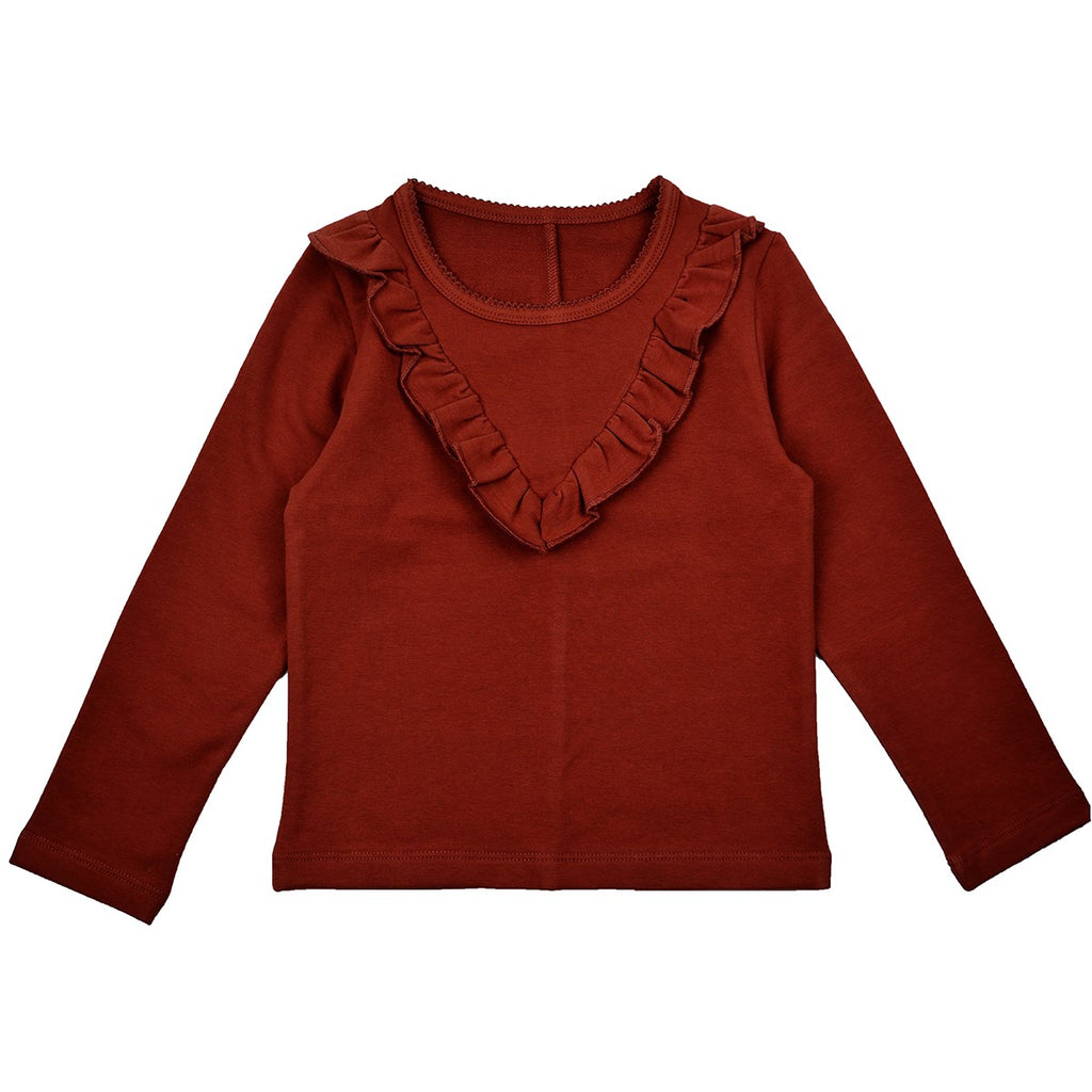 Baba Babywear - Longsleeve Sweat Girls Ruffles Brown Bruin