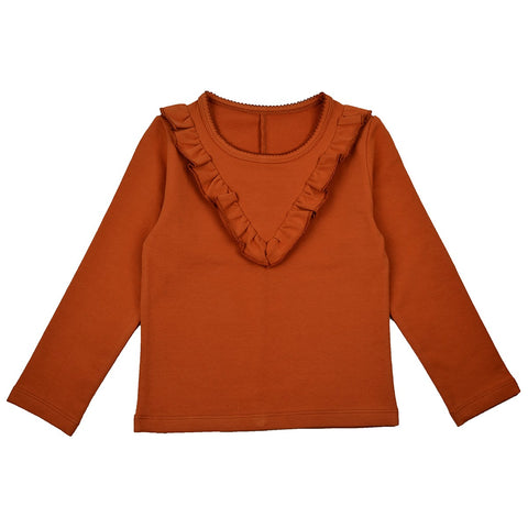 Baba Babywear - Longsleeve Sweat Girls Ruffles Autumnal Brown Roestbruin