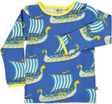 Smafolk - Longsleeve Viking Ship Blue Yellow