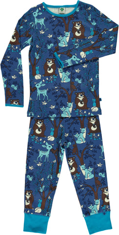 Smafolk - Pyjama Animals in the Forest Blue - Bosdieren