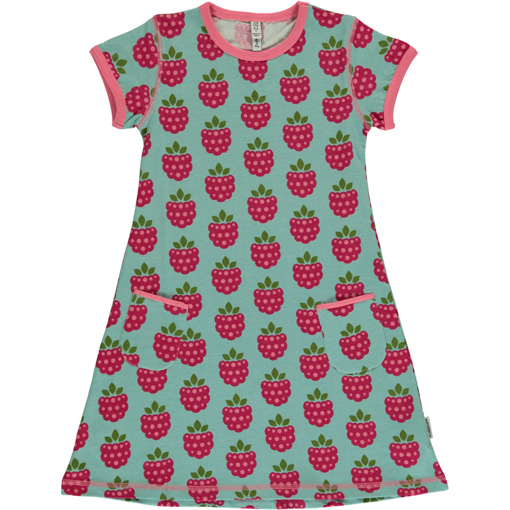 Maxomorra Dress Raspberry - Jurk Korte Mouw Frambozen