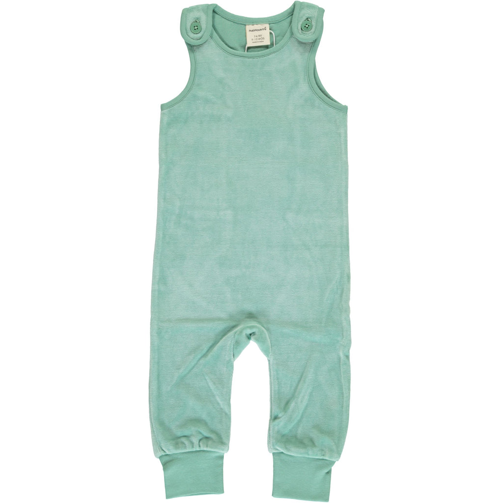 Maxomorra - Playsuit Velour Soft Teal - Licht mintgroene Playsuit Velours