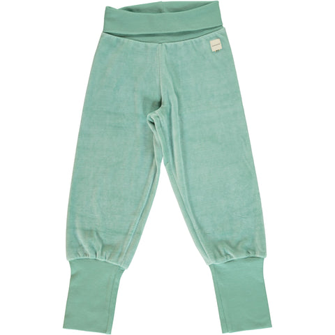 Maxomorra - Pants Rib Velours Soft Teal - Velourse broekje