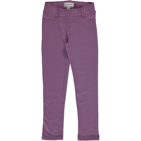 Maxomorra Tregging Sweat Dusty Purple - Zachte Paarse Strakke Sweat Broek