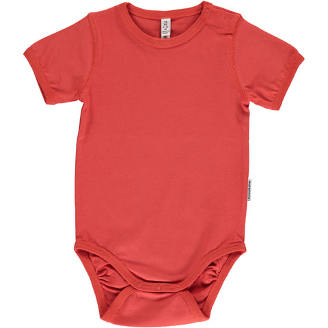 Maxomorra Body Shortsleeve Rusty Red - Romper Roest Rood