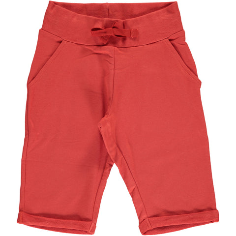 Maxomorra Sweat Shorts Knee Rusty Red - Korte Broek Roest Rood