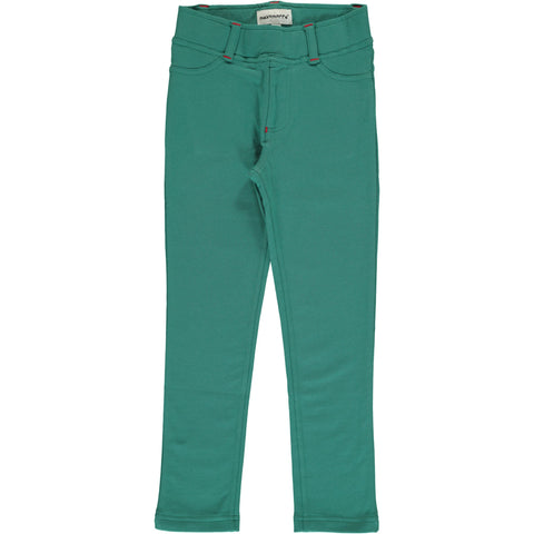 Maxomorra Tregging Sweat Green Petrol - Petrol Groene Strakke Sweat Broek