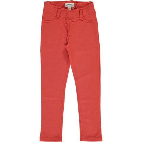 Maxomorra Tregging Sweat Rusty Red - Zachte Roest Rode Strakke Sweat Broek