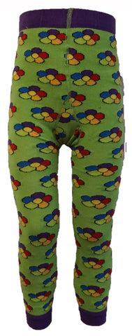 Slugs and Snails - Footless Tights Green Flower - Voetloze Maillot/Legging Groen Bloemetjes