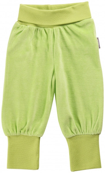 Maxomorra Pants Baby Velour Green Groen
