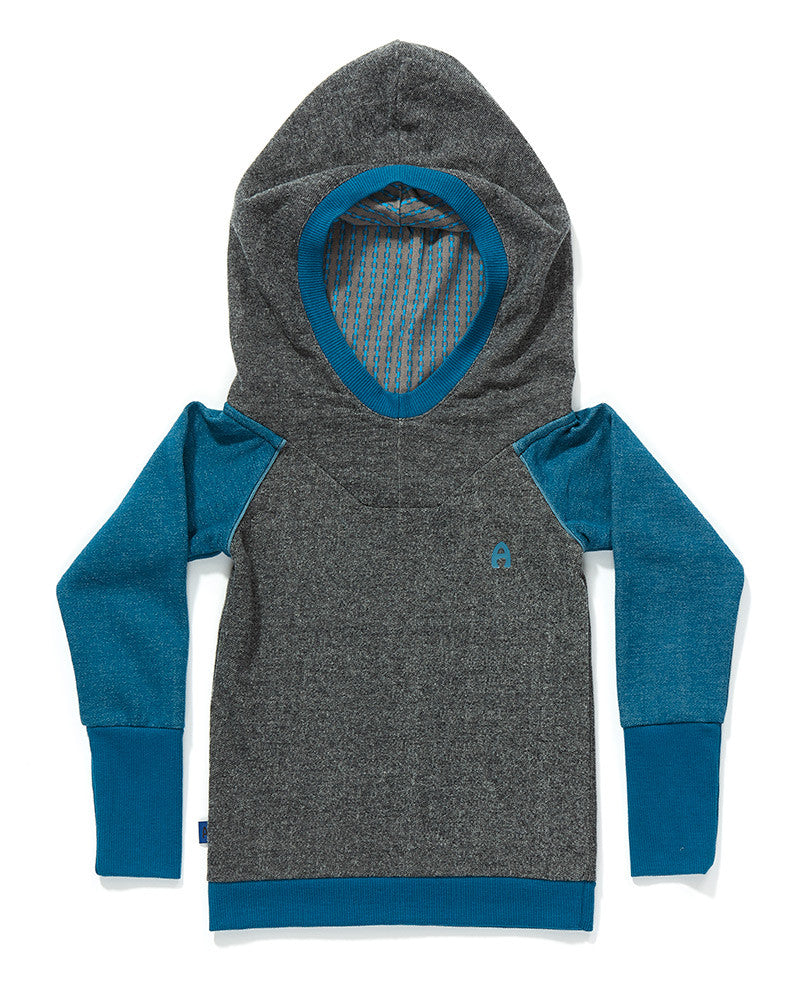 AlbaBaby - Hood Blouse Fabian Blue Grey