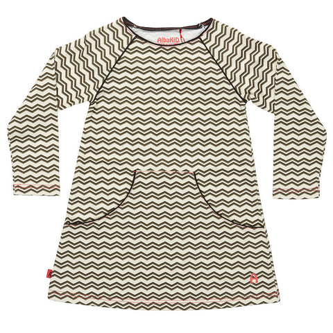 AlbaBaby Gabriella Dress Grey/Creme Zigzag