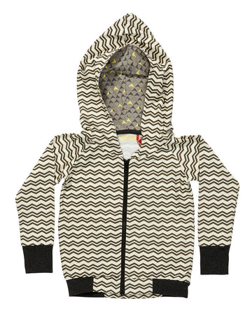 AlbaBaby Grape Zipper Hood Grey/Creme Zigzag